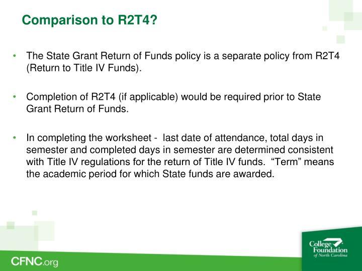 Comparison to R2T4?