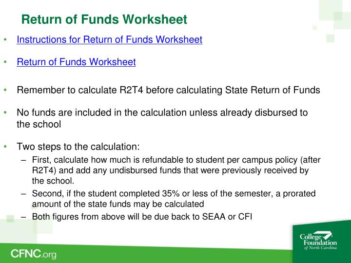 Return of Funds Worksheet