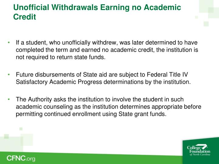 Unofficial Withdrawals Earning no Academic Credit