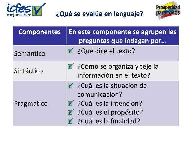 ¿Qué se evalúa en lenguaje?
