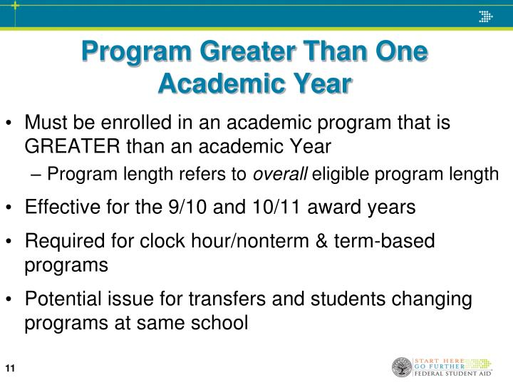 Program Greater Than One    Academic Year