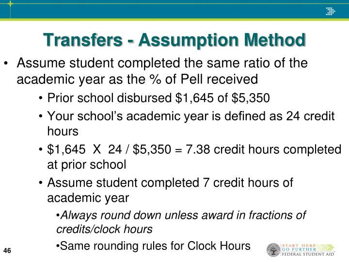 Transfers - Assumption Method