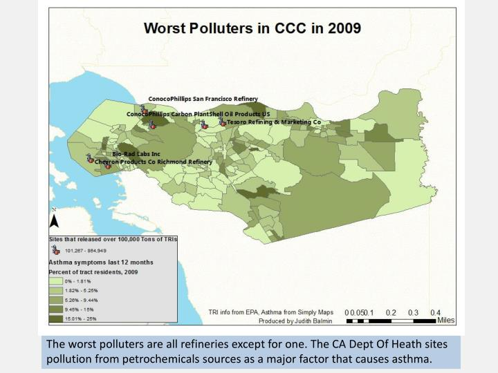 The worst polluters are all refineries except for one. The CA Dept Of Heath sites pollution from petrochemicals sources as a major factor that causes asthma.