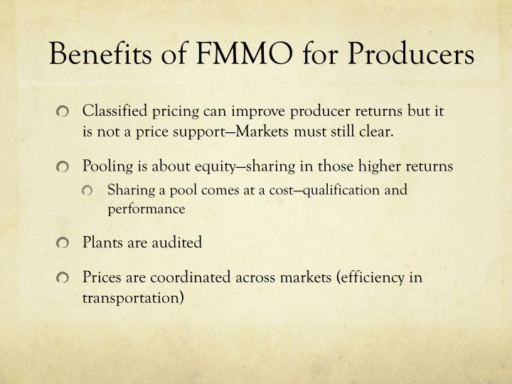 Benefits of FMMO for Producers