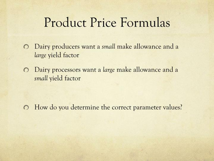 Product Price Formulas