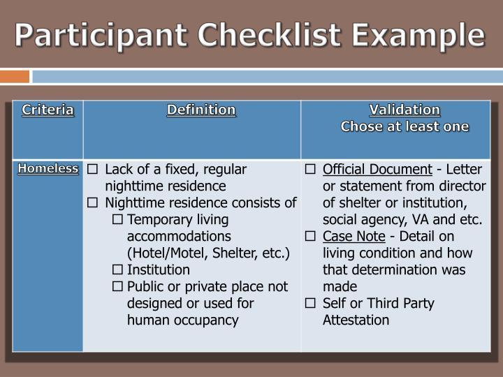 Participant Checklist Example