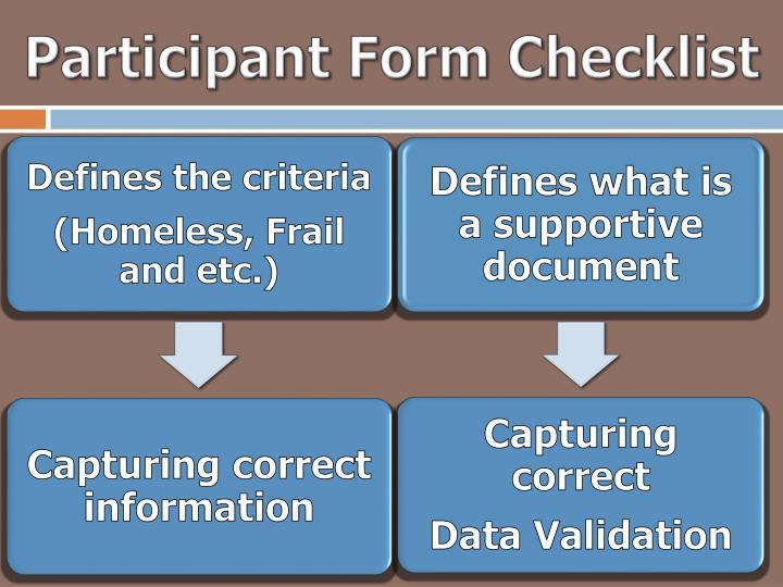 Participant Form Checklist