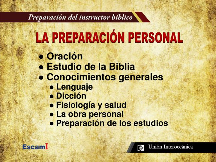 LA PREPARACIÓN PERSONAL