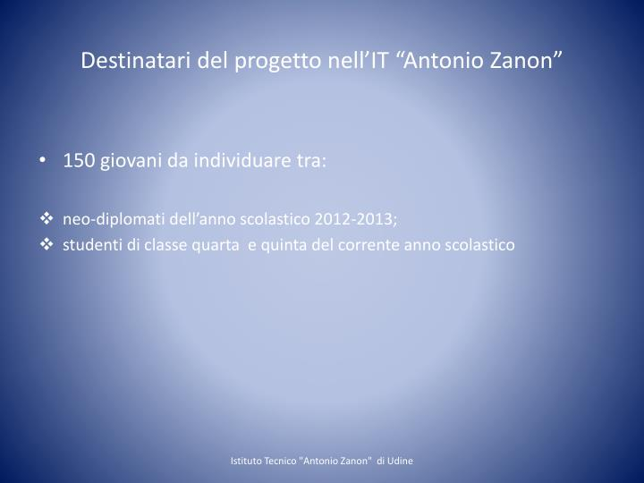 """Destinatari del progetto nell'IT """"Antonio"""