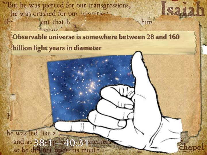Observable universe is somewhere between 28 and 160 billion light years in diameter