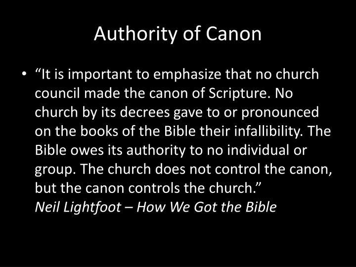 Authority of Canon