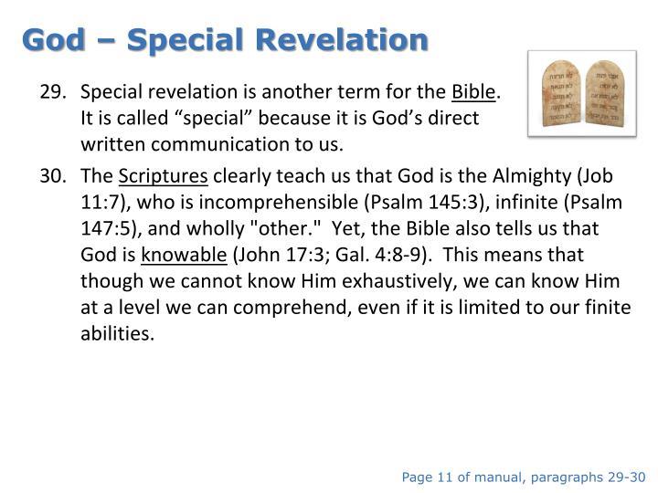 God – Special Revelation