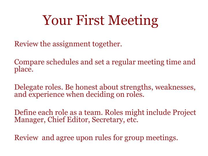 Your First Meeting