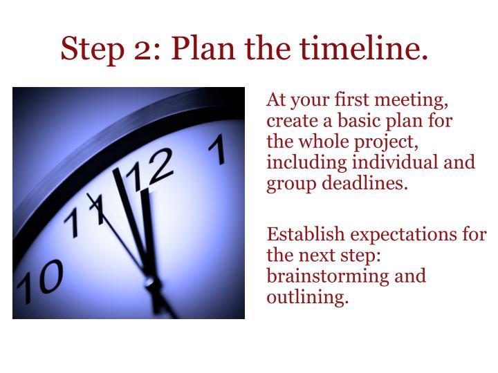 Step 2: Plan the timeline.