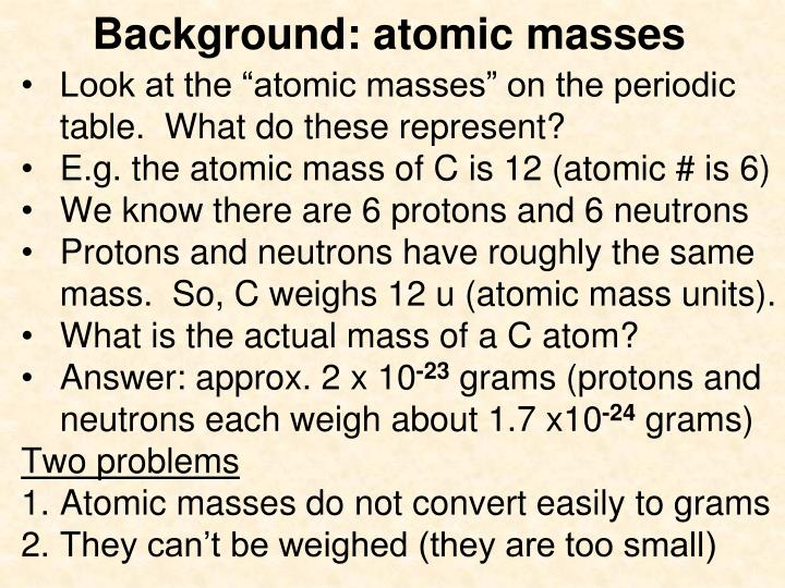 Background atomic masses