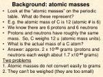 background atomic masses