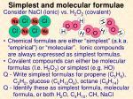 simplest and molecular formulae