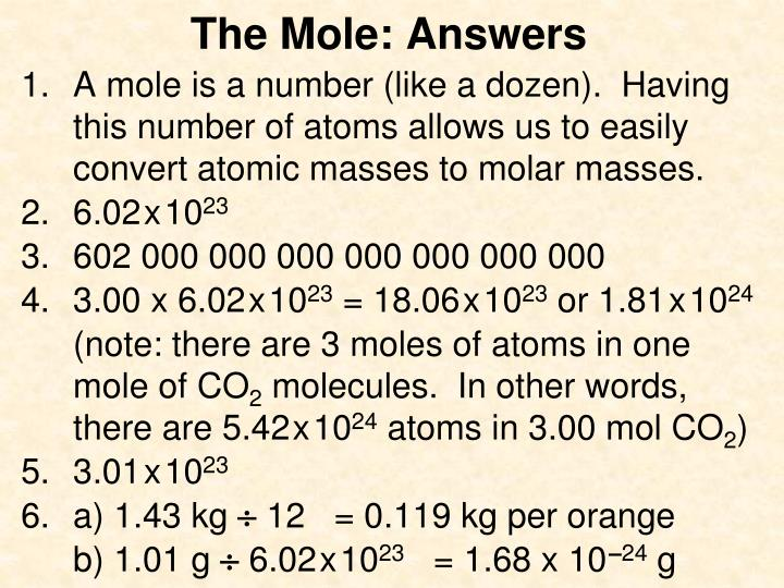The Mole: Answers