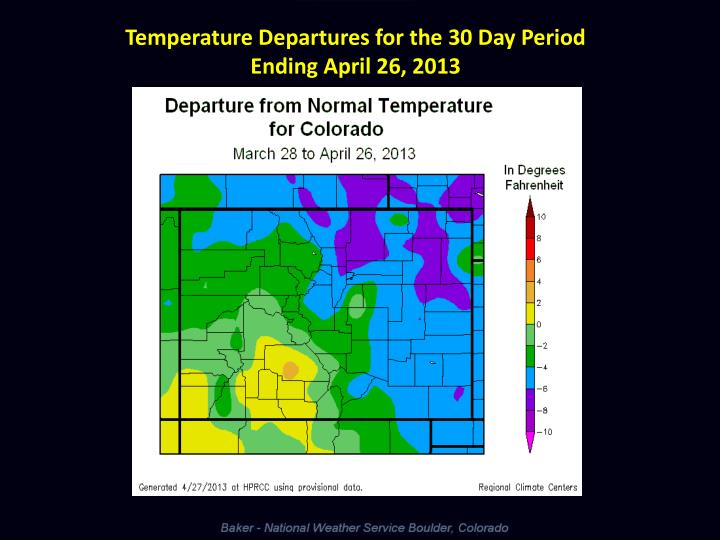 Temperature Departures for the 30 Day Period