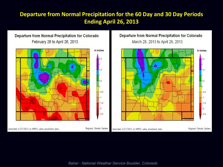 Departure from Normal Precipitation for the 60 Day and 30 Day Periods