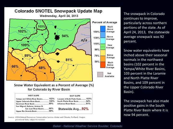 The snowpack in Colorado continues to improve, particularly across northern portions of the state. As of April 24, 2013,  the statewide