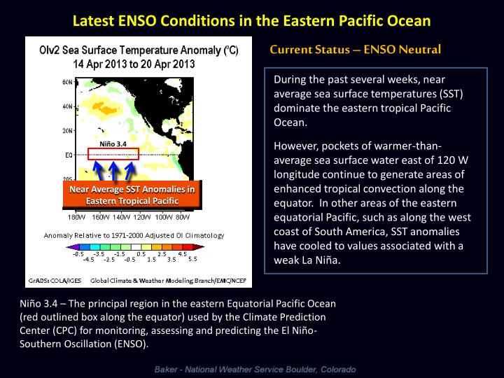 Latest ENSO Conditions in the Eastern Pacific Ocean