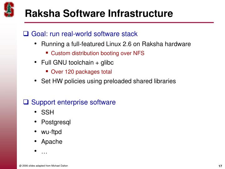 Raksha Software Infrastructure