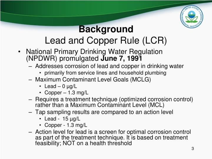 Background lead and copper rule lcr