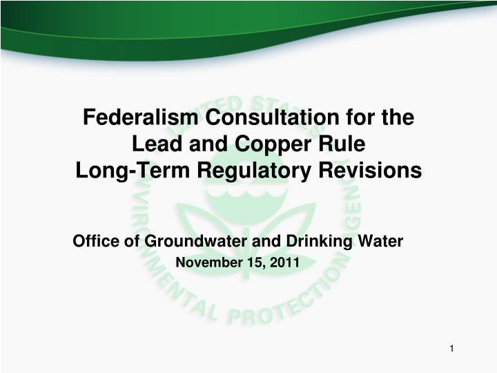 Federalism consultation for the lead and copper rule long term regulatory revisions