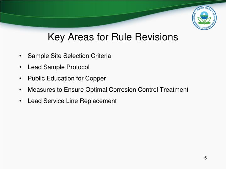 Key Areas for Rule Revisions