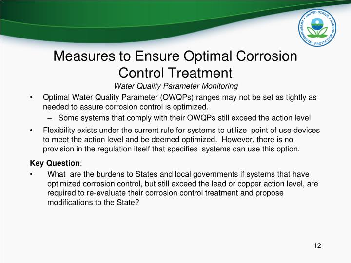 Measures to Ensure Optimal Corrosion Control Treatment