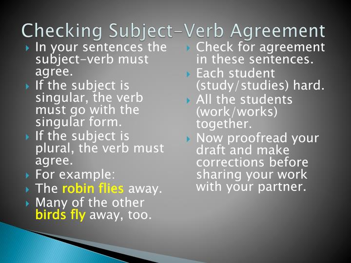 Checking Subject-Verb Agreement