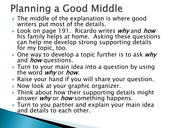 Planning a Good Middle