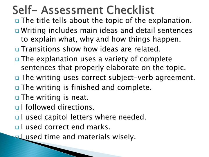 Self- Assessment Checklist
