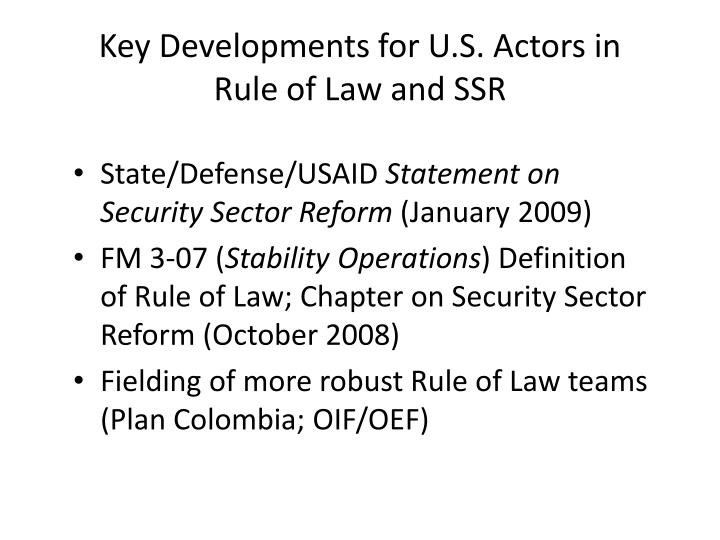 Key Developments for U.S. Actors in