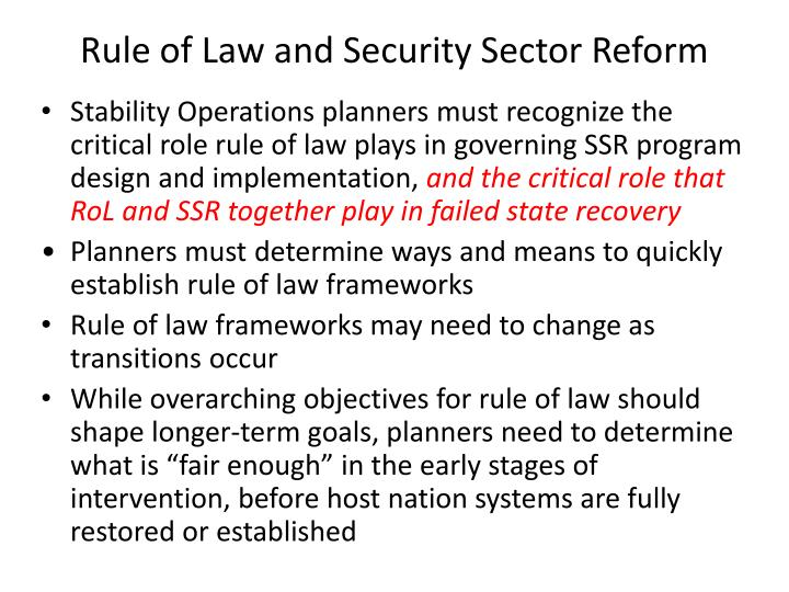Rule of Law and Security Sector Reform