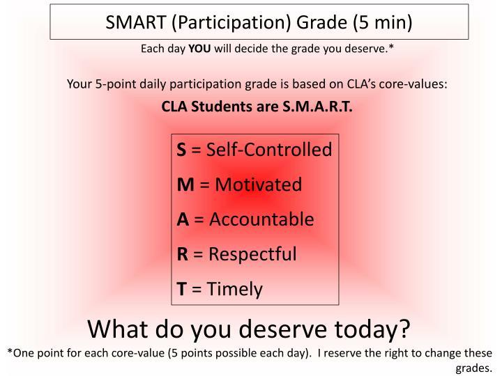 SMART (Participation) Grade (5 min)