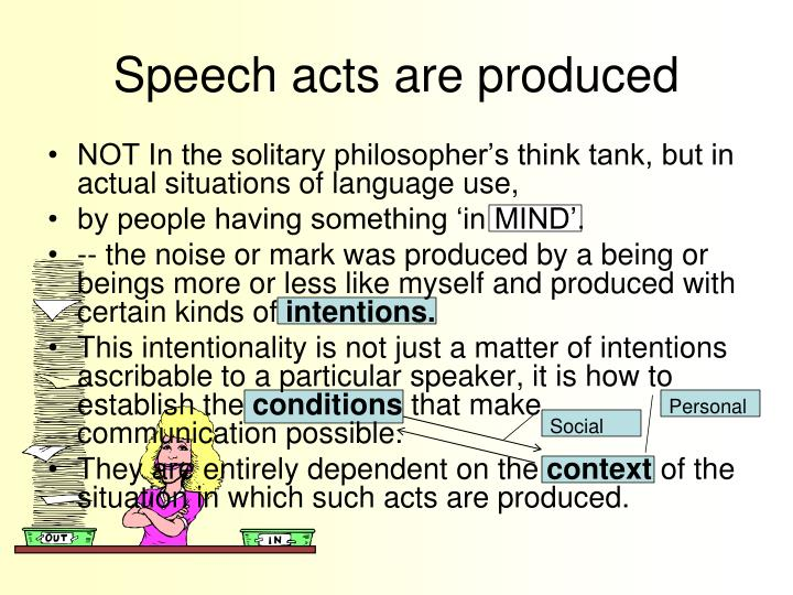 speech acts theory None of these utterances are true or false, neither have they described what the speaker is doing, yet it performs and acts of accepting ([11]) and betting ([12].
