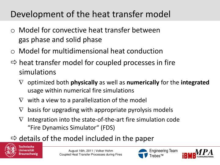 Development of the heat transfer model