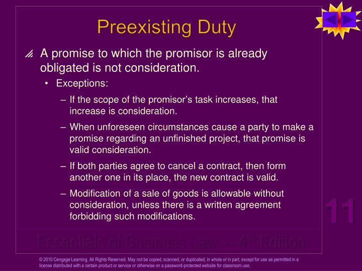 Preexisting Duty