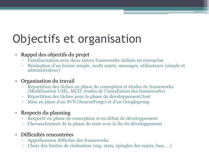 Objectifs et organisation
