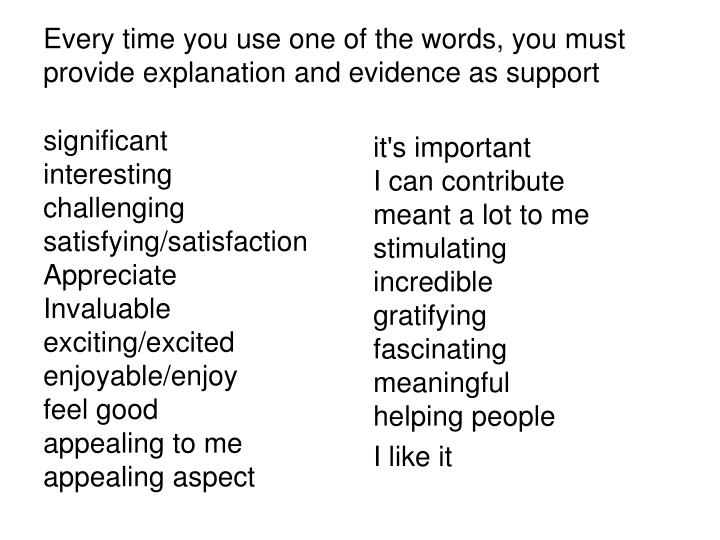 Every time you use one of the words, you must provide explanation and evidence as support