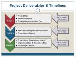 project deliverables timelines