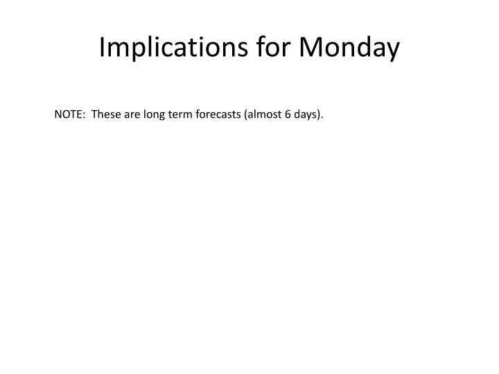 Implications for Monday