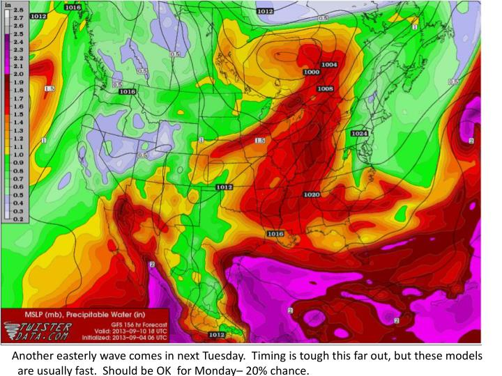 Another easterly wave comes in next Tuesday.  Timing is tough this far out, but these models