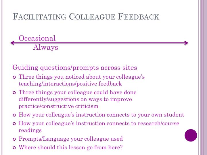 Facilitating Colleague Feedback