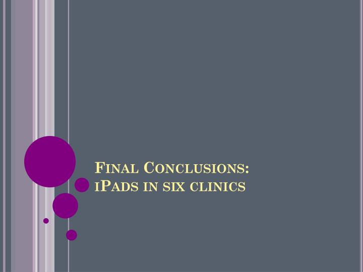 Final Conclusions: