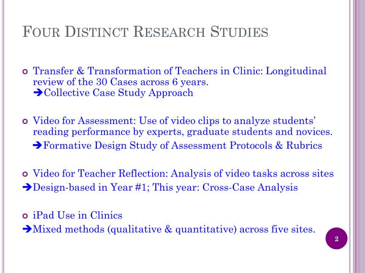 Four distinct research studies