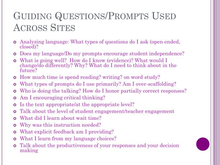 Guiding Questions/Prompts Used Across Sites