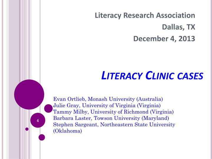 Literacy Clinic cases